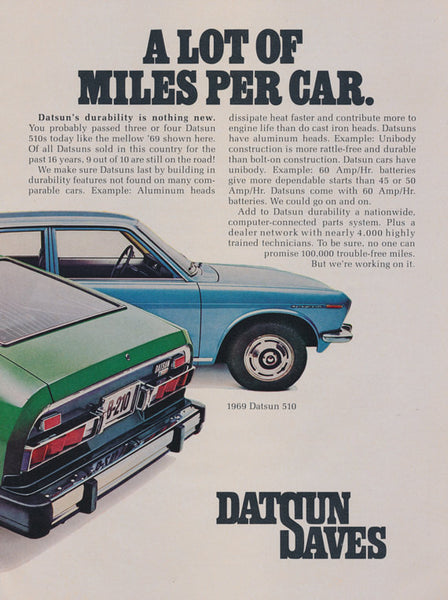 1976 Datsun B-210 Hatchback & 1969 Datsun 510 Photo Ad Nissan Car Vintage Advertising Wall Art Decor