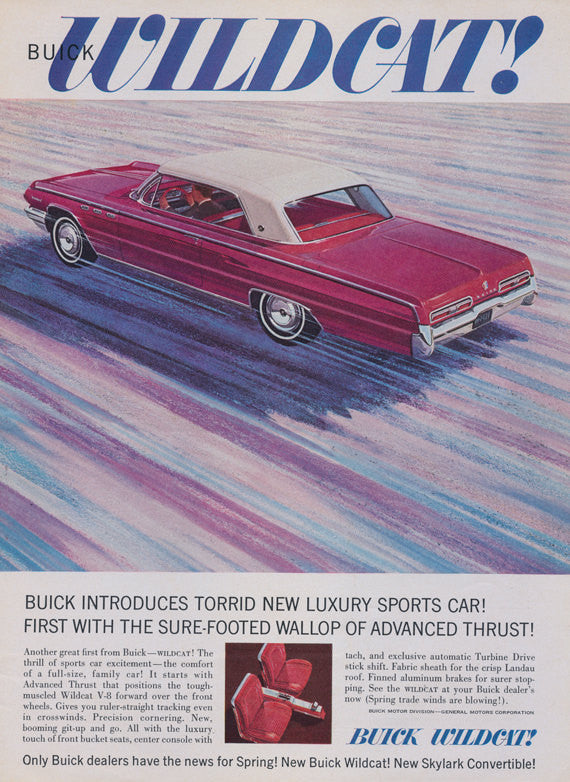 1962 Buick Wildcat Car Ad Red Automobile Illustration Vintage Advertising Bachelor Pad Wall Art Decor Print