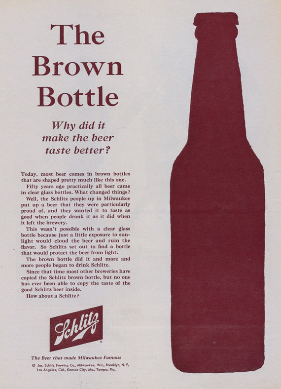 "1962 Schlitz Beer Ad ""The Brown Bottle"" Vintage Advertisement Bar Pub Tavern Wall Art Decor"