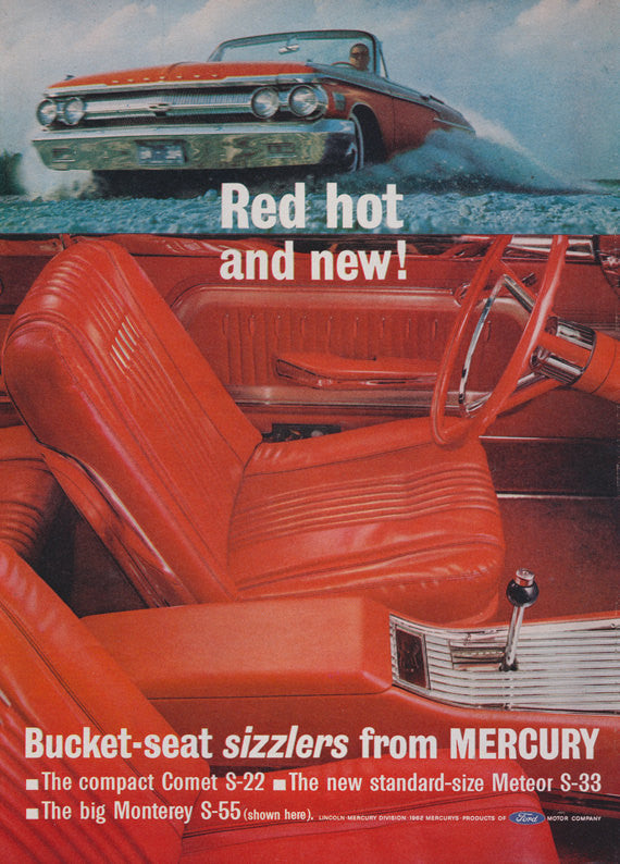 1962 Ford Mercury Car Ad Red Leather Seats Auto Interior Big Monterey S-55 Vintage Advertisement Bachelor Pad Garage Wall Art Print