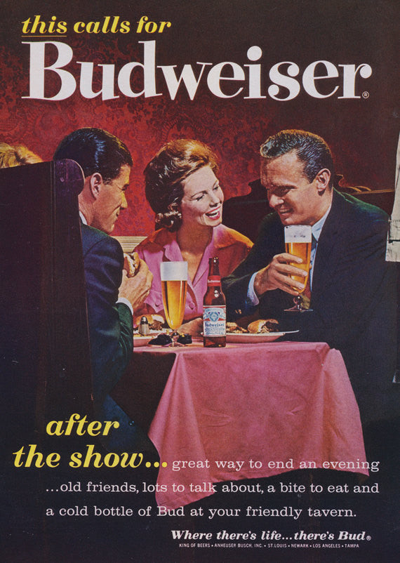 "1962 Budweiser Beer Ad ""After the Show"" Dining Couples Photo Retro Bar Wall Art Decor"