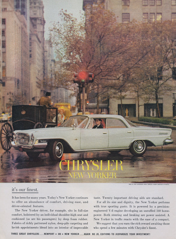 1962 Chrysler New Yorker Car Ad Mad Men Era Vintage Advertising NYC Photo Print Wall Art Decor