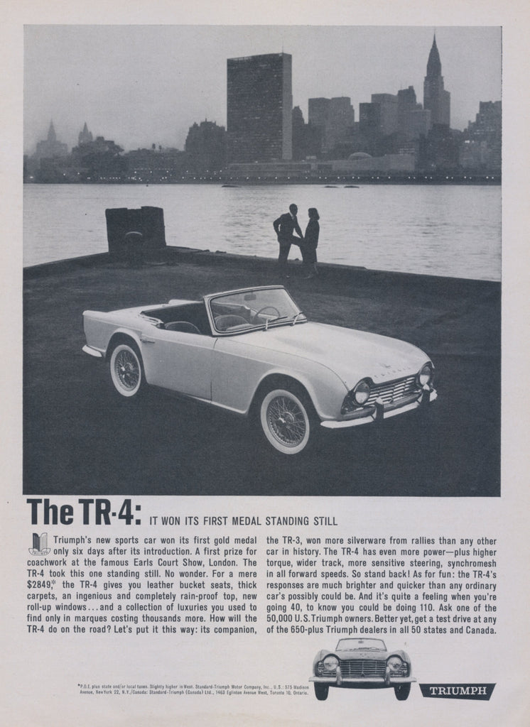 1962 Triumph TR-4 British Sports Car Ad City Skyline Photo Vintage Advertising Wall Art Print