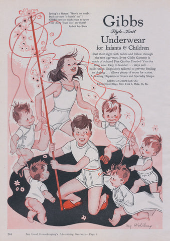 1949 Gibb's Underwear for Infants and Children Ad Baby Clothing Vintage Advertisement Cute Nursery Wall Art Illustration Print
