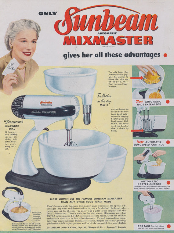 Sunbeam Mixmaster Mixer Ad Vintage Household Appliance 1949 Advertisement Print Retro Kitchen Bakery Wall Art Decor