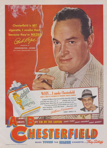1949 Chesterfield Cigarettes Ad Bob Hope Movie Star Photo Vintage Tobacco Advertising Old Hollywood Art Print Bar Wall Decor