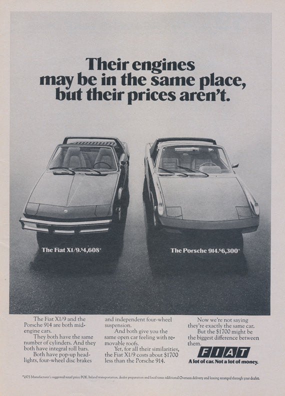 1975 Fiat XI Versus Porsche 914 Sports Car Ad Vintage Advertisement Black & White Photo Print Wall Art Decor