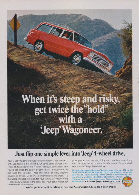 1966 Jeep Wagoneer Station Wagon Car Ad Red 4-Wheel Drive SUV Automobile Photo Wall Art Decor Print