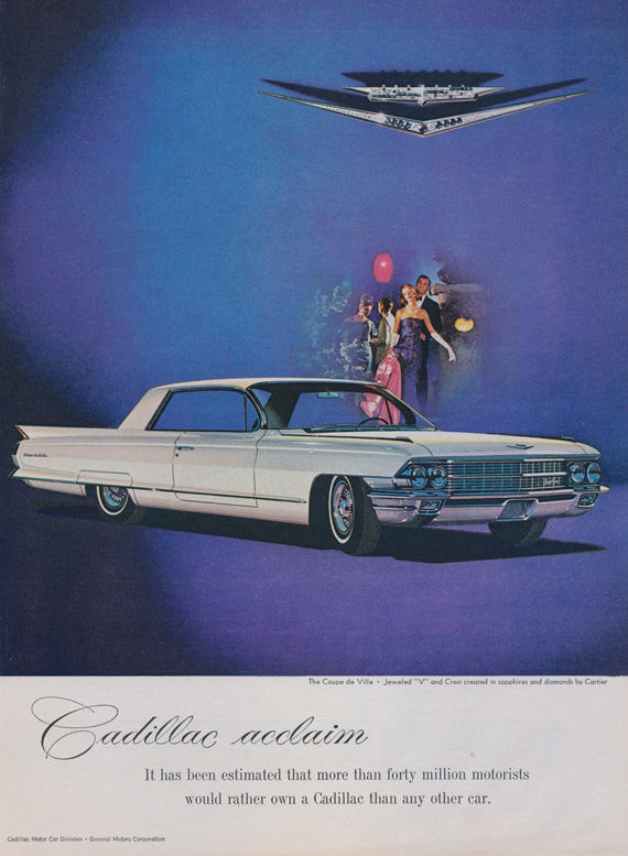 1962 Cadillac Coupe de Ville Car Ad Vintage Advertising Print Wall Art Decor