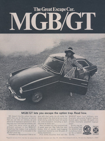 1968 MGB GT Car Ad Vintage Advertising The Great Escape Cars Black & White 1960s Austin Healey Sportscar Photo Print Great Gatsby Wall Art