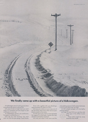 1969 Volkswagen Car Advertisement Beautiful Picture Tire Tracks Snowy Road Photo Vintage VW HTF Rare Print Ad Wall Decor