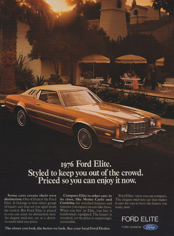 1976 Ford Elite Car Photo Ad Vintage Advertisement Wall Art Decor Print