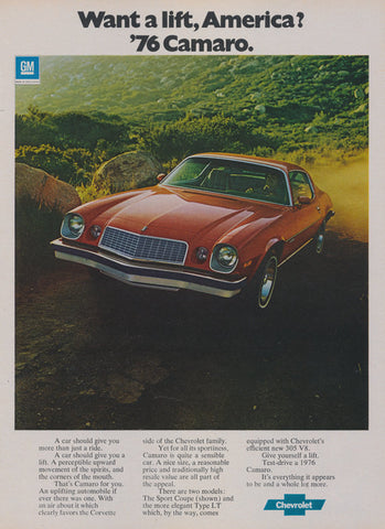 1976 Chevy Camaro Car Ad Vintage Advertising Chevrolet Red Muscle Car Print Wall Art