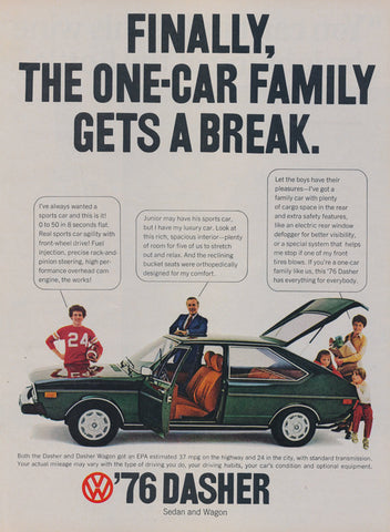 1976 VW Dasher Car Ad Volkswagen Vintage Sedan and Wagon Advertisement Wall Art Decor