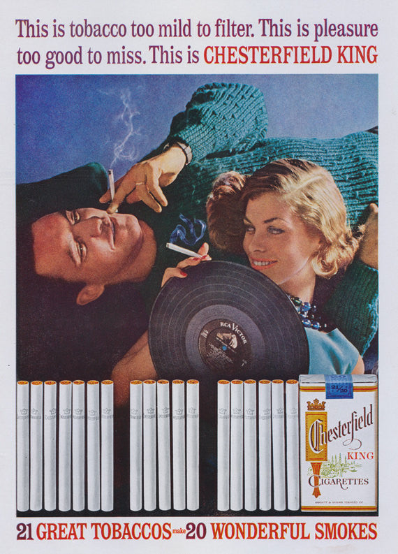 1962 Chesterfield Cigarettes Ad Retro 60s Couple Smoking Playing Records Photo Vintage Advertising Print Bar Wall Decor