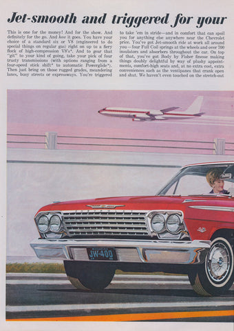 1962 Jet-Smooth Chevrolet 4-Door Sport Sedan Car Ad Red Automobile at Airport Illustration Art Vintage Advertisement Retro Travel Wall Decor