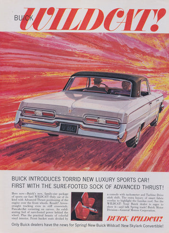 1962 Buick Wildcat Car Ad Vintage Automobile Illustration Red Yellow Wall Art Decor Print