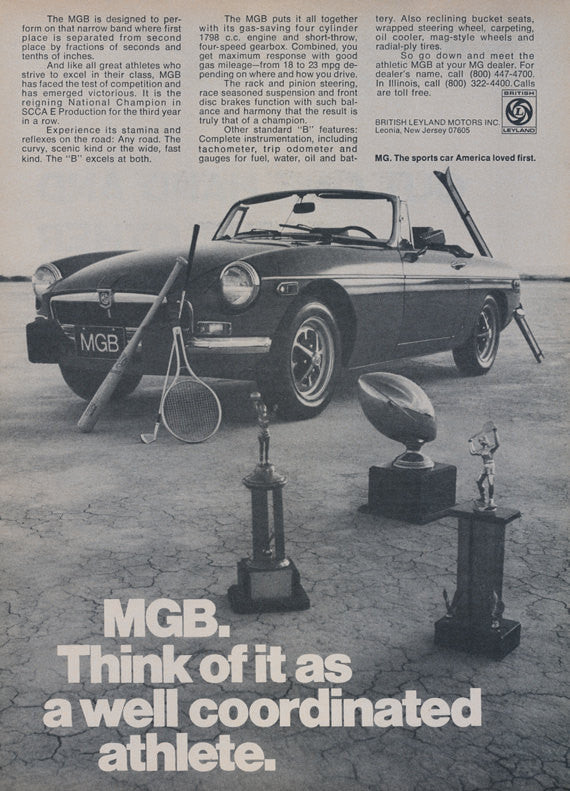 1974 MGB Sports Car Ad Convertible Photo Sports Medals Vintage Advertisement Wall Art Decor