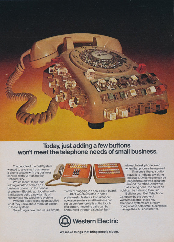 1974 Western Electric / Bell System Telephone Company Ad Phone with Lit Buttons Photo Vintage Advertisement Retro Office Wall Decor