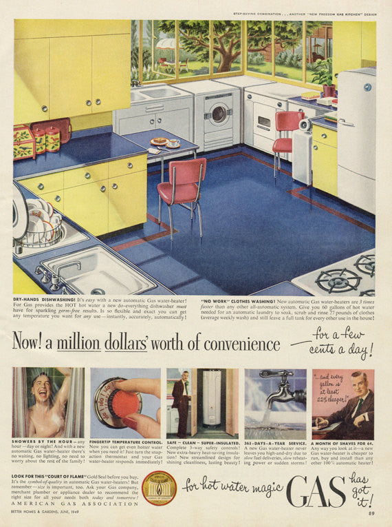 1949 American Gas Association Ad Kitchen & Laundry Appliances Illustration Art Vintage Advertising Wall Art Decor