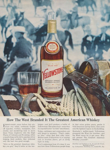 1962 Yellowstone Whiskey Ad Wild West Photo Rare Vintage Liquor Advertisement Rustic Country Western Bar Pub Wall Decor