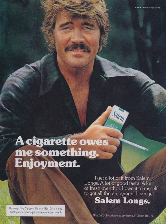 "1976 Salem Longs Cigarette Ad ""Enjoyment"" Vintage Advertisement 70s Man Photo Retro Wall Art Decor"