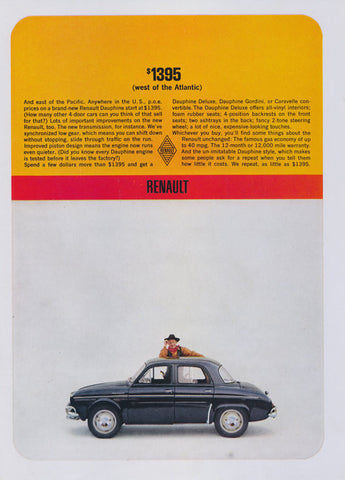 1962 Renault Dauphine Car Ad Vintage Classic Automobile Advertisement Man Cave Garage Wall Art Decor
