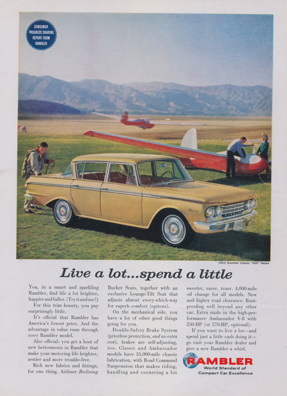 1962 Rambler Classic 400 Sedan Vintage Classic Car Advertisement Yellow Automobile Airplane Photo Wall Art Decor