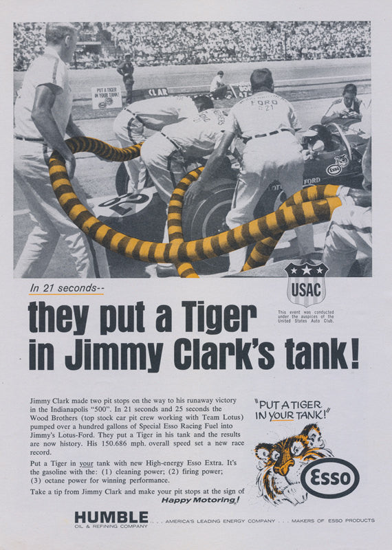 1965 Esso Humble Oil & Refining Company Ad Jimmy Clark Racing Photo Vintage Advertisement Print Garage Wall Art Decor