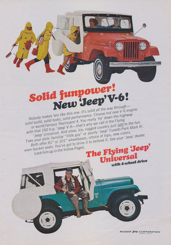 1966 Jeep V-6 & Flying Jeep Universal w/ 4-Wheel Drive Funpower Vintage Advertisement Garage Wall Art Decor Print