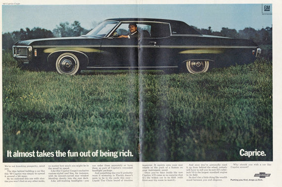 1969 Chevrolet Caprice Coupe Vintage Automobile Advertisement Photo Print Wall Art Decor
