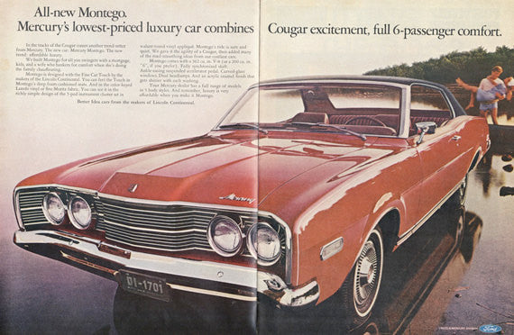 1968 Mercury Montego Ford Automobile Ad Red Classic Car Photo Vintage Advertisement Print Wall Art Decor