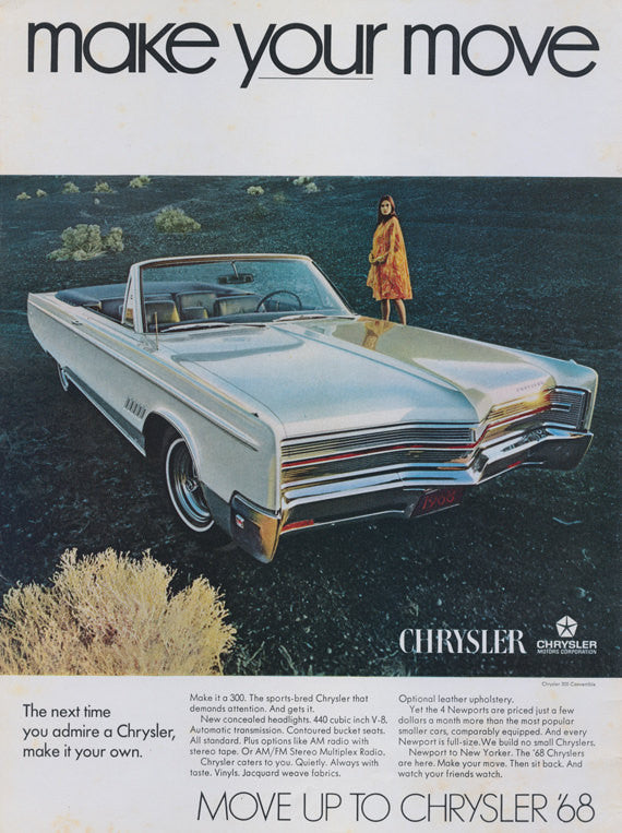 "Chrysler '68 Convertible Classic Car Photo Print Ad Vintage Automobile Advertisement ""make your move"" Garage Wall Art Print"