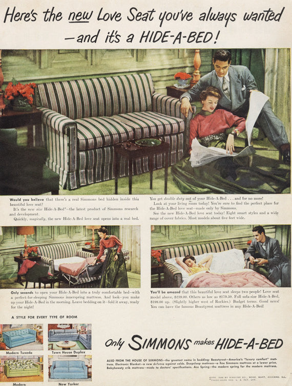 1949 Simmons Hide-a-Bed Love Seat Sofa Ad 1940s Home Interior Design Fold-out Couch Photo Vintage Advertisement Print Wall Art Decor