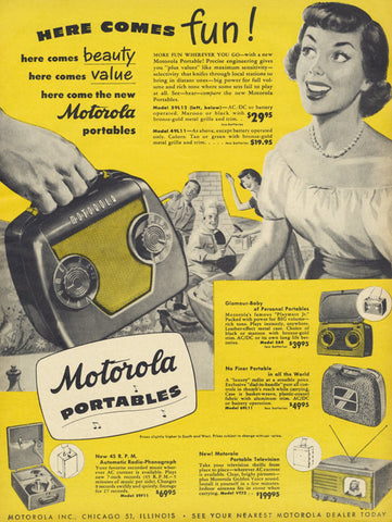 1949 Motorola Portables Ad Radio Phonograph Television Electronics Vintage Advertisement Art Retro Technology Yellow Wall Art Decor