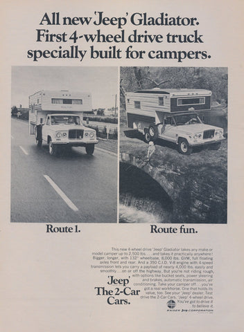 1969 Jeep Gladiator Camper Truck Ad Vintage Car Advertisement Wall Art Decor