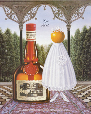 "1988 Grand Marnier Liqueur Ad ""Love is Grand"" Surreal Art Print Vintage Liquor Advertisement Bar Wall Decor"