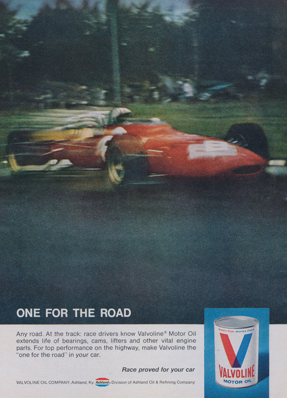 "1969 Valvoline Motor Oil Ad Race Car Photo ""One for the Road"" Vintage Advertisement Print Man Cave Garage Wall Art"