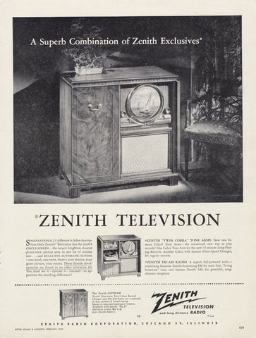 1949 Zenith Television Radio Vintage Technology Electronics Advertisement Wall Art Decor