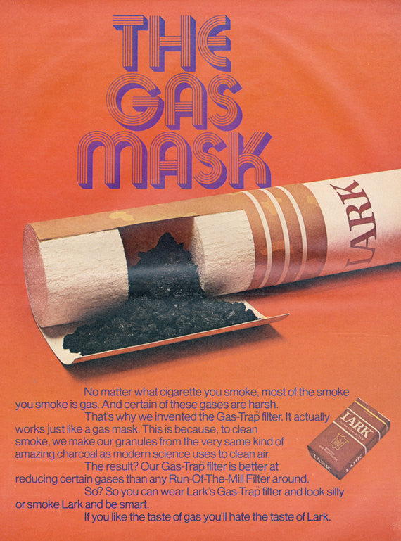 "1971 Lark Cigarette Ad ""The Gas Mask"" Advertising Print Bar Wall Art Decor"