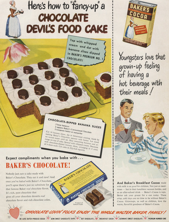 1949 Baker's Chocolate Ad Devil's Food Cake Banana Slices Recipe Hot Cocoa Vintage Advertising Print Kitsch Food Kitchen Bakery Wall Decor