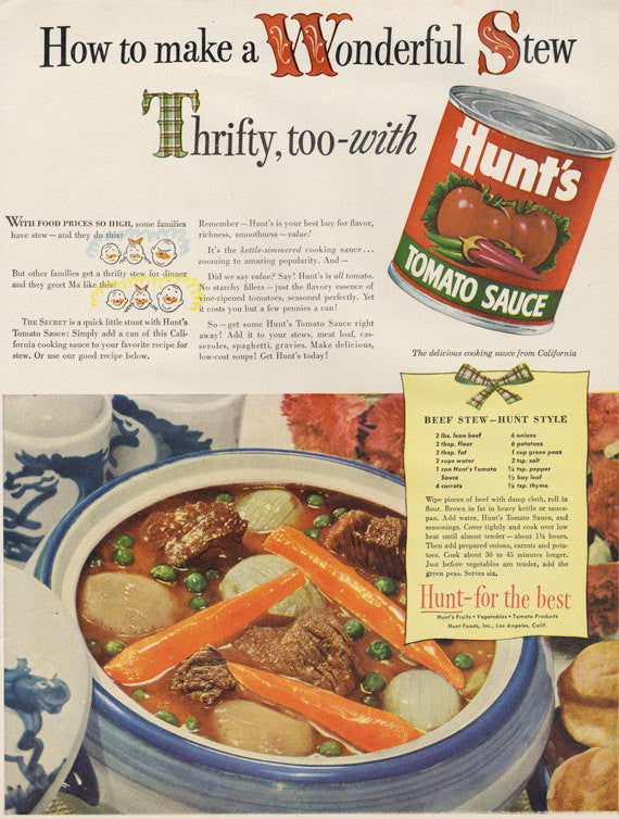 1949 Hunt's Tomato Sauce Ad Beef Stew Recipe Food Photo Vintage Advertisement Print Retro Kitchen Farmhouse Wall Art Print