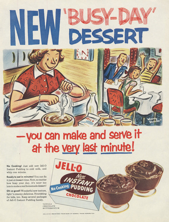 1950s Jell-O Chocolate Instant Pudding Ad Busy-Day Dessert Vintage Advertisement Art Cute Retro Kitchen Wall Decor