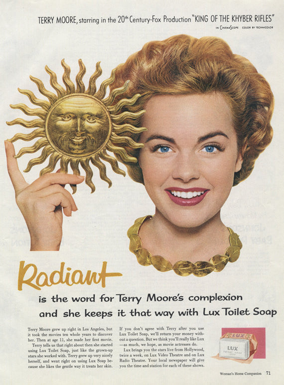 1954 Lux Toilet Soap Ad Radiant Sun Terry Moore Hollywood Movie Star Photo Vintage Beauty Advertisement Bathroom Vanity Salon Wall Art Decor