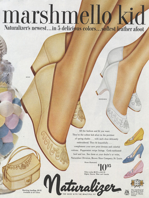 1954 Naturalizer Shoe Ad Marshmallow Platform High Heels Vintage Fashion Advertisement Print Boutique Wall Art Decor