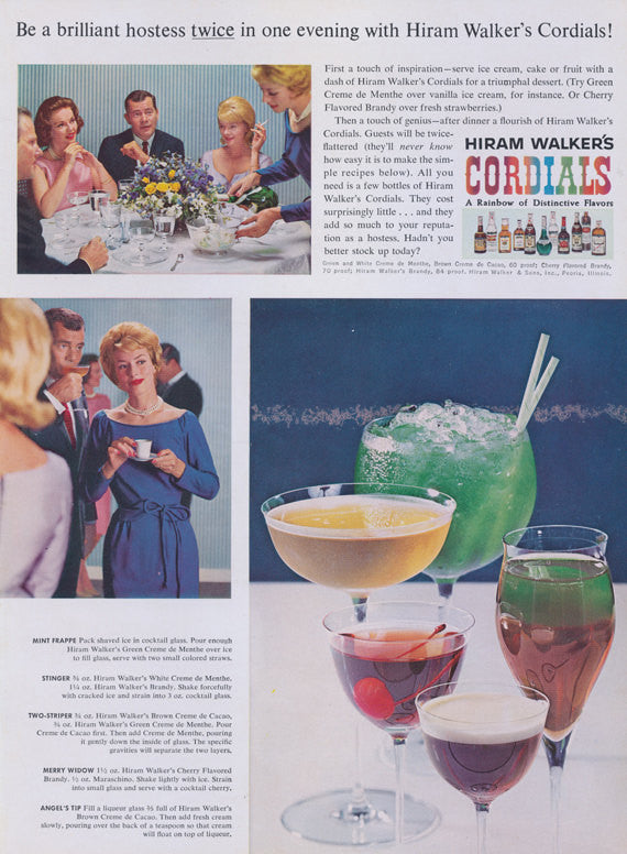 1962 Hiram Walker's Cordials Liquor Ad Hostess 60s Cocktail Recipes Print Vintage Liqueur Advertisement Bar Wall Art Decor