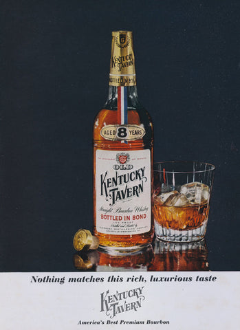 1962 Kentucky Tavern Bourbon Whiskey Ad Whisky Bottle & Cocktail Glass Photo Vintage Bourbon Liquor Advertisement Bar Pub Wall Decor