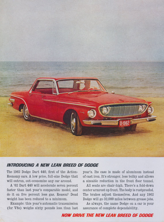 1962 Dodge Dart 440 Classic Car Ad Red Automobile on Beach Photo Vintage Advertisement Print Garage Man Cave Wall Art Decor