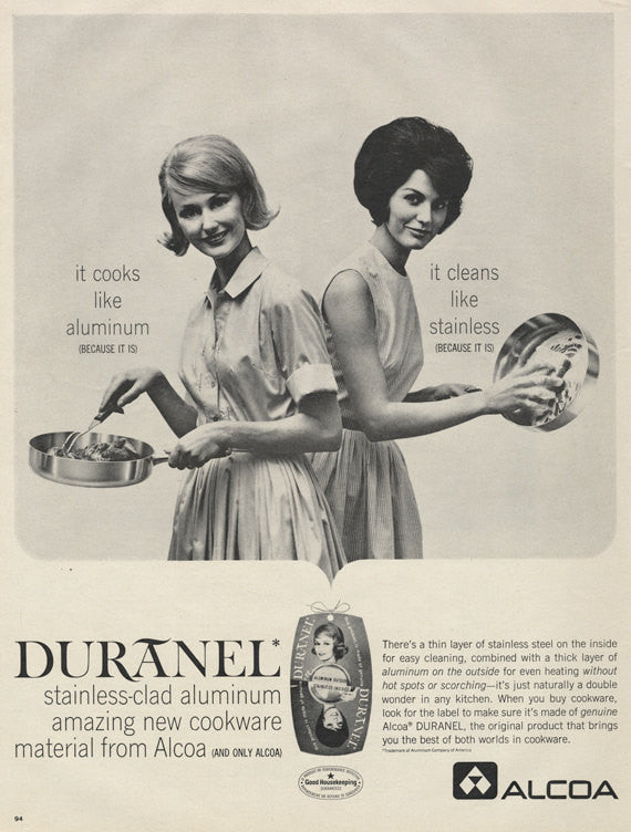 1963 Alcoa Ad Aluminum Cookware 60s Housewives Black & White Photo Vintage Advertisement Print Wall Art Decor