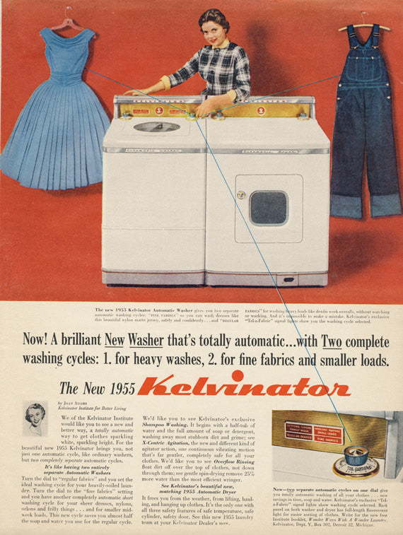 1955 Kelvinator Washing Machine & Dryer Vintage Advertisement 1950s Housewife Photo Print Laundry Room Wall Art Decor